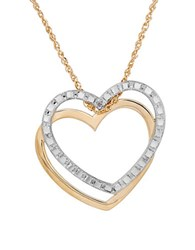 Lord And Taylor 14K Yellow Gold Double Heart Pendant Necklace