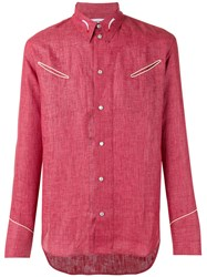 Umit Benan Slip Pocket Shirt Men Linen Flax 46 Red