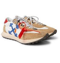 Off White Leather Trimmed Shell And Suede Sneakers White