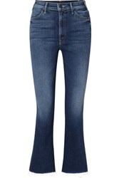 Mother The Hustler Cropped Frayed High Rise Flared Jeans Blue