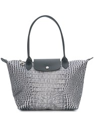 Longchamp Le Pliage Crocodile Print Tote Grey