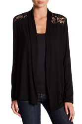 Cable And Gauge Lace Back Knit Cardigan Black