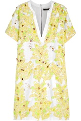 J.Crew Sparrow Embellished Linen And Cotton Blend Dress