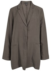 Eileen Fisher Brown Tencel And Linen Blend Jacket Chocolate