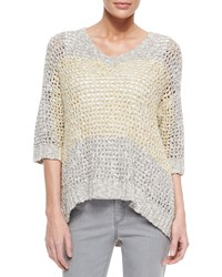 Lafayette 148 New York Colorblock Eyelet Stitch Sweater Women's