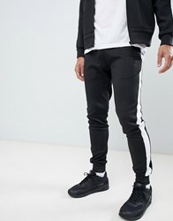Hype Skinny Joggers In Black Poly With Side Stripe
