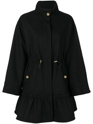 Boutique Moschino Classic Zipped Coat Women Polyester Viscose Wool 40 Black