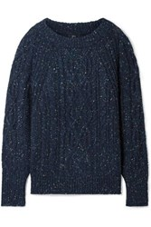 J.Crew Scotty Marled Cable Knit Sweater Navy