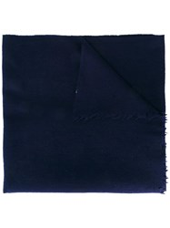 Closed Fringed Scarf Blue