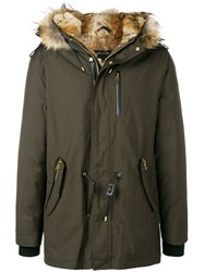 Mackage Raccoon Fur Trimmed Hood Padded Coat Green