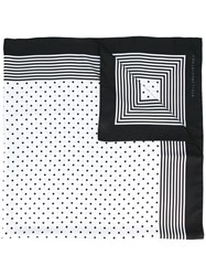Stella Mccartney Dotted And Striped Scarf White