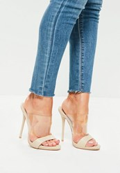 Missguided Nude Clear Strap Snake Pattern Heeled Mule Sandals