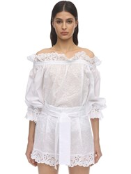 Ermanno Scervino Cotton Eyelet Lace Shirt White