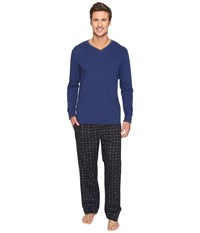 Lacoste Long Sleeve Signature Pants Gift Set Blue Depths Men's Pajama Sets