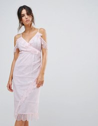 Warehouse Eyelash Cold Shoulder Dress Light Pink
