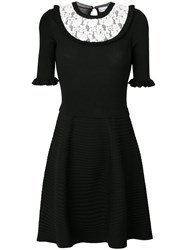 Red Valentino Contrast Lace Trim Party Dress Women Polyamide Viscose S Black