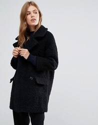 Ymc Fluffy Double Breasted Cocoon Coat Black