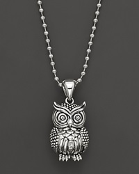 Lagos Sterling Silver Rare Wonders Owl Pendant Necklace 34