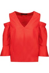 W118 By Walter Baker Haley Cold Shoulder Cotton Poplin Top Tomato Red