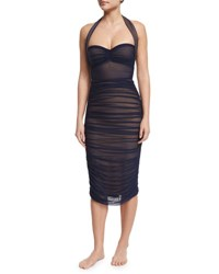 Norma Kamali Ruched Mid Calf Coverup Skirt Midnight