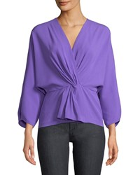 Diane Von Furstenberg Crepe Twist Front Long Sleeve Wrap Top Purple