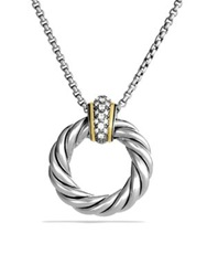 David Yurman Cable Classics Pendant With Diamonds And Gold On Chain Silver