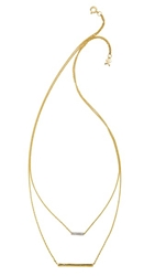 Kacey K Double Bar Necklace Gold Clear