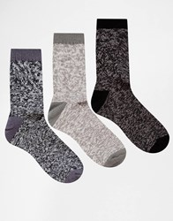 Asos Ankle Length Boot Socks 3 Pack In Grey