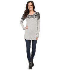 Rock And Roll Cowgirl Long Sleeve Knit 48 5030 Ash Grey Women's T Shirt Gray