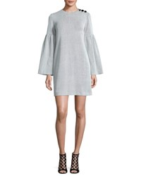 Tibi Crinkle Knit Bell Sleeve Shift Dress Ivory Multi