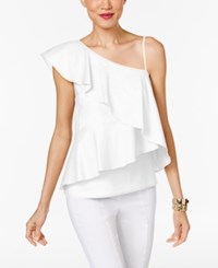 Marled One Shoulder Tiered Blouse Bright White