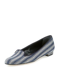 Manolo Blahnik Shari Woven Fabric Loafer Blue Patterned