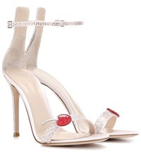 Gianvito Rossi Cherry Portofino Embellished Satin Sandals Pink