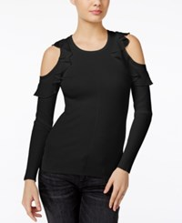 Guess Ruffled Cold Shoulder Sweater Black