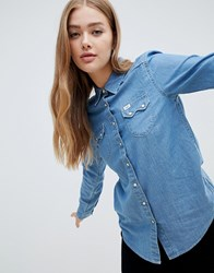 Lee Regular Western Denim Shirt Washed Blue
