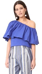 Edit One Shoulder Ruffle Top Blue