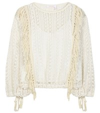 See By Chloe Tasselled Crochet Knit Top Neutrals