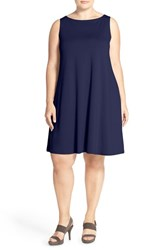 Plus Size Women's Eileen Fisher Lightweight Jersey Bateau Neck Knee Length Dress Midnight