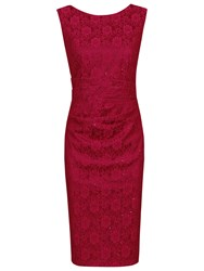 Jolie Moi Lace Bonded Sequin Shift Dress Dark Red