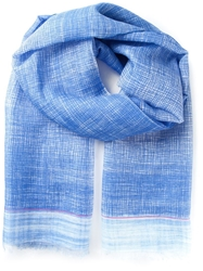 Canali Fringed Printed Scarf Blue