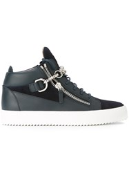 Giuseppe Zanotti Design Chain Trimmed Mid Top Trainers Blue