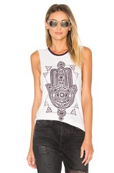 Spiritual Gangster Stamp Hamsa Moon Rocker Tank Cream
