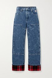 Alexander Wang Flannel Paneled High Rise Straight Leg Jeans Mid Denim