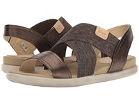 Ecco Damara 2 Strap Sandal Licorice Powder Cow Leather Cow Nubuck Women's Sandals Brown