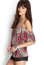 Forever 21 Tribal Print Blouse Wine Pink