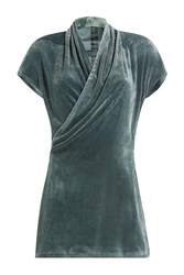 Rick Owens Draped Velvet Top Green