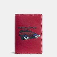 Coach Card Wallet In Wild Car Print Leather Cardinal