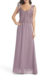 Heartloom Koko Tie Shoulder Lace Bodice Gown Lilac