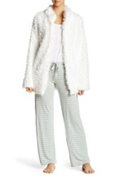 Pj Salvage Faux Fur Shaggy Cardigan Beige