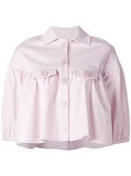 Vivetta Ruffled Cropped Jacket Pink Purple